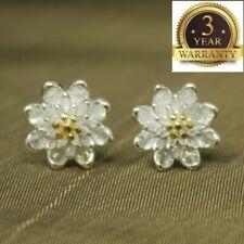 Flower Elegant Crystal Ear Stud Earrings 925 Sterling Silver Women Jewelry Cute