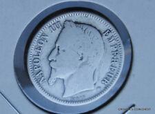 1869  WORN EMPIRE FRANCE SILVER 1 FRANC CIRCULATED  WORLD COIN #JMG30