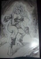 SEXY HUNTRESS DRAWING BY SHELBY ROBERTSON ! RARE!