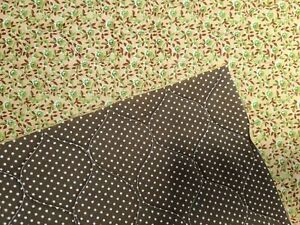 Double Sided Pre-Quilted Cotton Fabric Polka Dot and Floral Calico, Brown