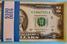 2017 US 2 Dollar Bundle Of 50 bills All Consecutive , Last 3 Digits 151-200 Unc