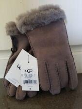 NWT UGG Australia Women's Sheepskin Gloves with Fur Foil  Stormy Gray  Size Lg