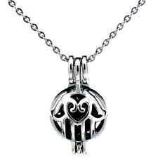 Hamsa Hand Pearl Cage Stainless Steel Locket Necklace -K396