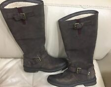 ugg Australia Brown Sheepskin Leather boots Distressed Zipper size 6 S/ N Womens
