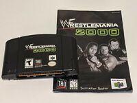 WWF WRESTLEMANIA 2000 Nintendo 64 N64 Black Video Game Cartridge w/ Manual THQ