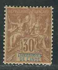 France India Stamps 12 Yv 9 30c Brown MHR VF 1892 SCV $57.50