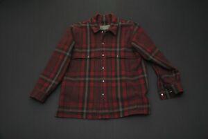 Damaged Filson Wool Jacket Burgundy Plaid Men's M Medium 100% Wool Made in USA