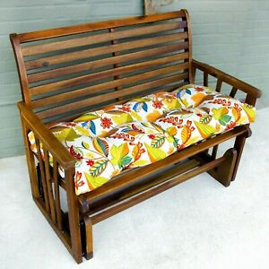 """Porch Swing Cushion Glider Bench Seat 52"""" Tufted Padded Pillow Floral Yellow"""