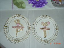 VINTAGE PAIR OF CHALK WARE PINK BALLERINA WALL PLAQUES