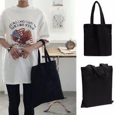 Fashion Women Lady Canvas Eco Reusable Shoulder Bag Shopping Handbag Black Tote