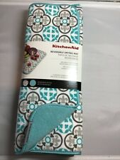 Kitchen Aid Reversible Drying Mats 2 Pack Turquoise Brown Medallion 16 X 18 Nip