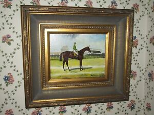 Stupendous painting oil on canvas of a racing horse and jockey, signed