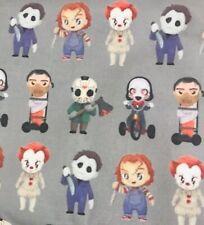 Horror Villains  100 % Cotton Fabric 1/4 Yard 9 X 42 Great For Masks Halloween