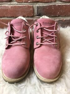 Timberland Pink Boots Waterproof Leather Ankle Booties Size 8
