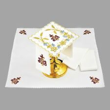 Altar Mass Linens Chalice Set IHS & Wheat Pall Corporal Lavabo Purificator