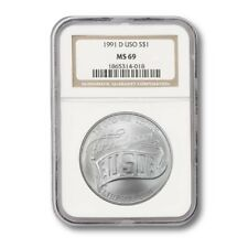 USA Modern Commemorative Silver Dollar- USO $1 1991D NGC MS-69