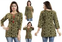Women Indian Short Kurti Tunic Cotton Printed Green Kurta Shirt Dress SC1039