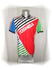 C - Maillot Cycliste Vintage  Rouge Vert  Blanc Toshiba  SMS Santini Taille XXL