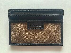 Coach Heritage Signature Slim Card Case F74759 Khaki/Brown