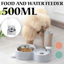 2in1 Automatic Pet Dog Cat Food Feeder Bowl Dish & 500ml Bottle Water  Yy