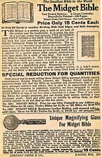 1929 small Print Ad of The Midget Bible & Unique Magnifying Glass