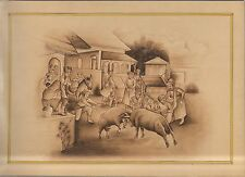 Village Goat Fighting Regional Miniature Painting Paper Indian Decor Paintings