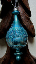 PEACOCK TEAL BLUE GLITTER CHRISTMAS BLING GLASS ORNAMENT DECORATION GIFT