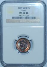 1889 NGC MS64RB Red and Brown FS-801 DDR Double Doubled Die Reverse Indian Cent