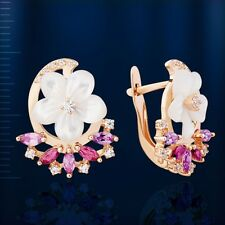 Russian Solid Rose Gold 585 /14ct Amethyst Mother of Pearl Flower Earrings