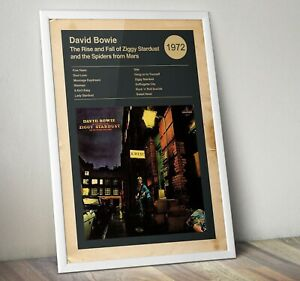 David Bowie Album Poster, Ziggy Stardust Art Print, Wall Art, Bowie Print