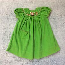 Amanda Remembered Girls Smocked Bishop Dress Size 2T Christmas Green Santa Claus