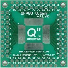 """QFP80 0.50 mm (0.02"""") à 4 x connecteur IDC2x10. [UK]"""