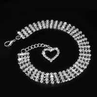 4 Rows Bling Rhinestone Pet Dog Necklace Jewelry Collars for Small Breeds