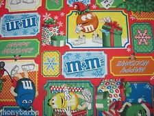 M & Ms CANDY CHRISTMAS CHOCOLATES SANTA PATCHES by MARS on COTTON FABRIC Yardage