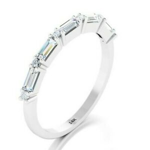 14K Solid White Gold Ring Baguette Diamond Wedding Thin Band Stacking Dainty
