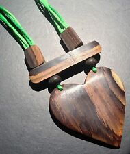 BOHO / LAGENLOOK  ADJUSTABLE WOODEN HEART NECKLACE / PENDANT - LIME GREEN CORD