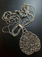 Israel Modernist Brutalist Sterling Silver 925 Massive Pendant Necklace