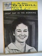 GREAT DAY IN THE MORNING Playbill Autographed COLLEEN DEWHURST Flop NYC 1962