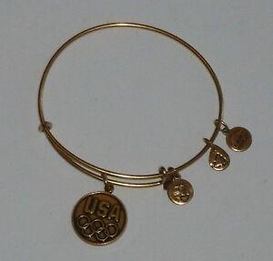 Alex and Ani (+) Energy Olympic Iconic USA  Gold Bangle Charm Bracelet
