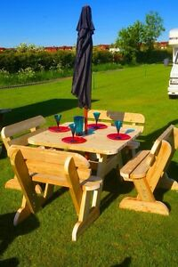 Heavy Duty Garden Table & Bench Set Seats  up to 8 **NO Self Assembly required**