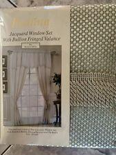 Paulina jacquard window set with bullion fringed valance new