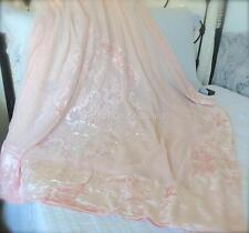 Shabby Hampton Chic Lace Velvet Queen King Bed Quilt Pink Peach Bedspread $275