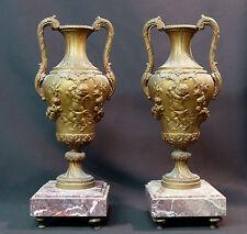 B 1840 belle paire cassolette amphore 6kg37cm bronze régule angelot putti chic