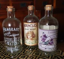 3 Vintage decorative storage bottles labelled cork topped 15cm tall Rare bottles