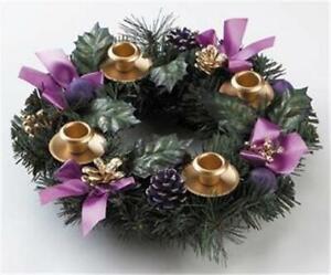 Purple Ribbon Advent Wreath Candle Holder Centerpiece Silk Flowers Christmas