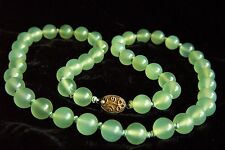 """Vintage Chinese Export Jade Silver Necklace 24.5""""  88.2 g"""