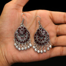 Festive Collcetion Maroon Pair of Dangle Afghani Earrings for Girls and Woman