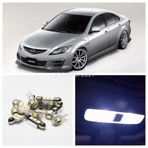 8Pcs Xenon White LED Interior Light Bulb Package Kit Light For 2003-2008 Mazda 6