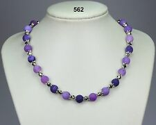 "Beautiful purple agate necklace, silver grey crystals, silver chain 21"" + 2"""