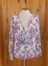 PER UNA lilac purple grape chiffon floral roses long sleeve blouse shirt top 14